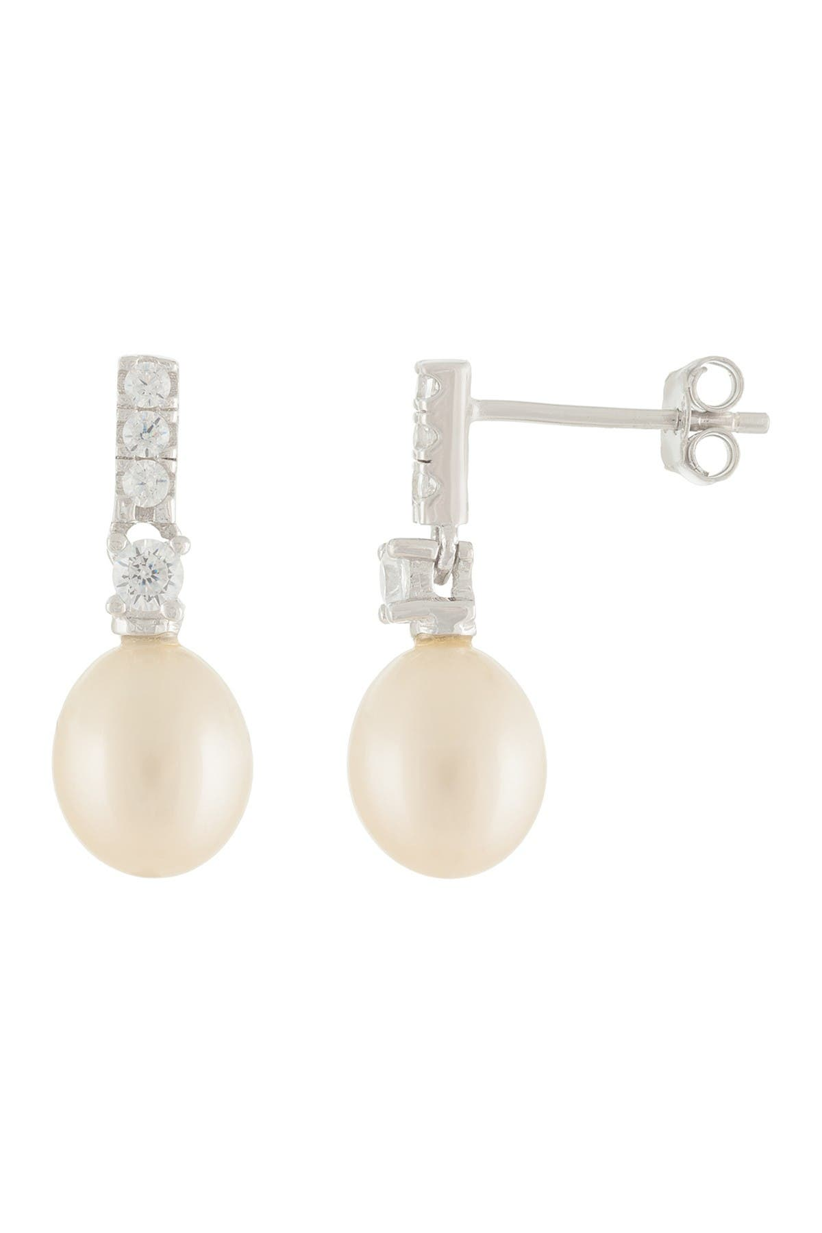 Image of Splendid Pearls CZ & 7-7.5mm Cultured Freshwater Pearl Earrings