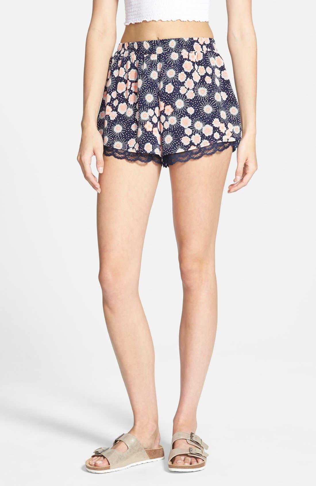 ,                             Lace Trim Floral Print Shorts,                             Main thumbnail 16, color,                             401