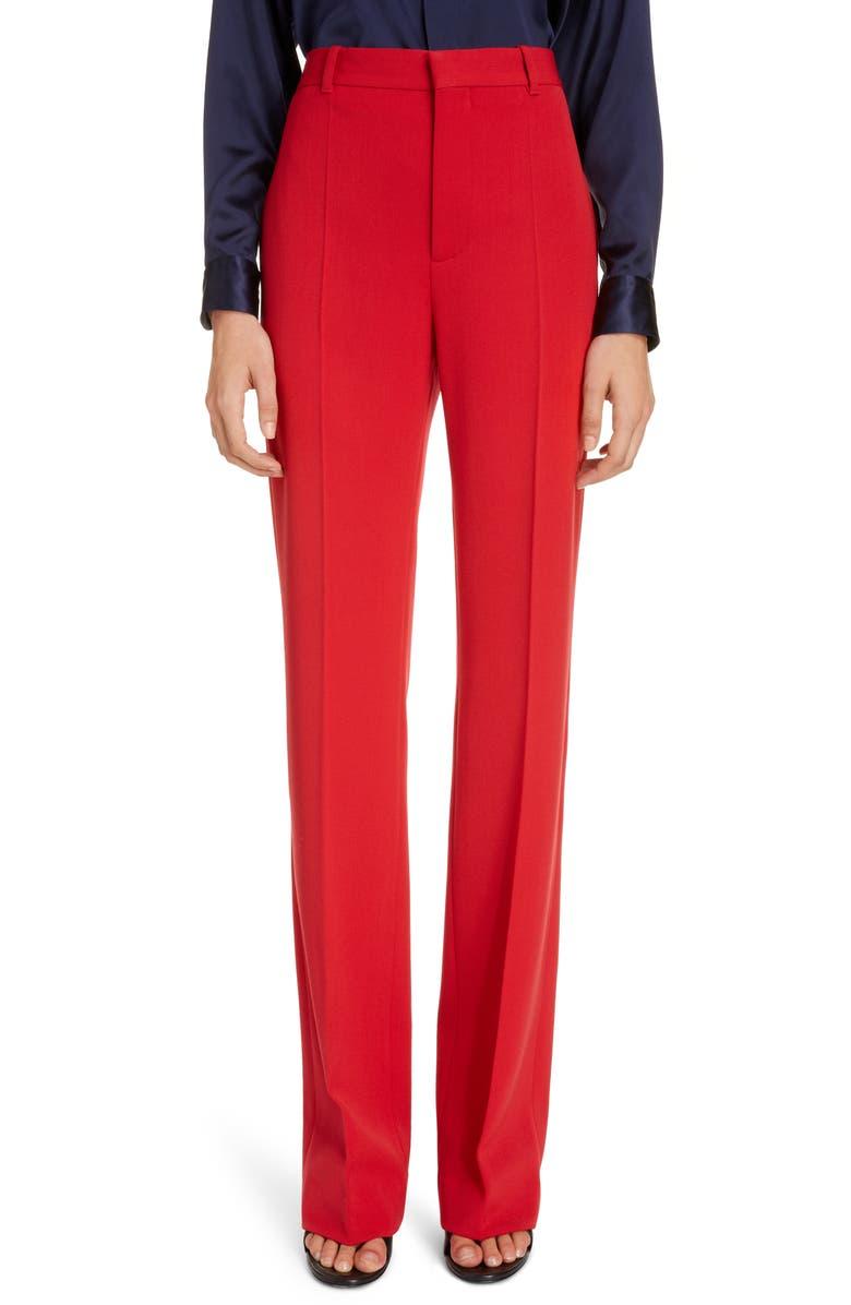 BALENCIAGA Straight Leg Stretch Twill Trousers, Main, color, MASAI RED