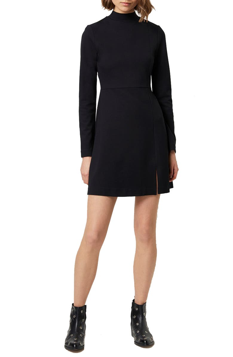 FRENCH CONNECTION Lula Long Sleeve Knit Minidress, Main, color, BLACK