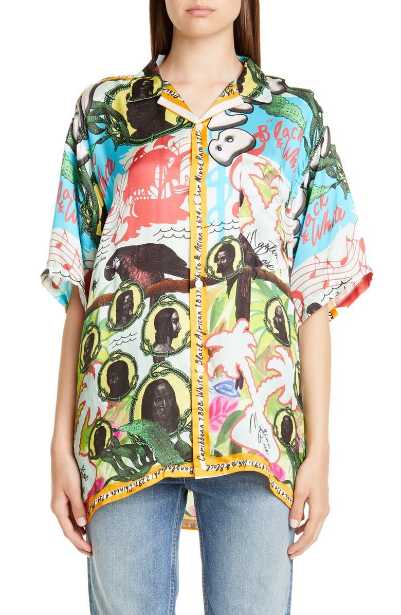 MARTINE ROSE Tropical Print Short Sleeve Button-Up Shirt, Main, color, BRISTOL