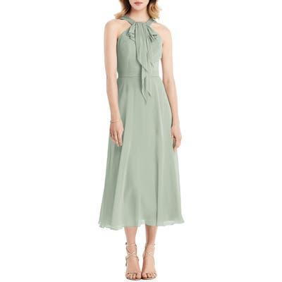 Jenny Packham Halter Neck Chiffon Midi Dress, Green