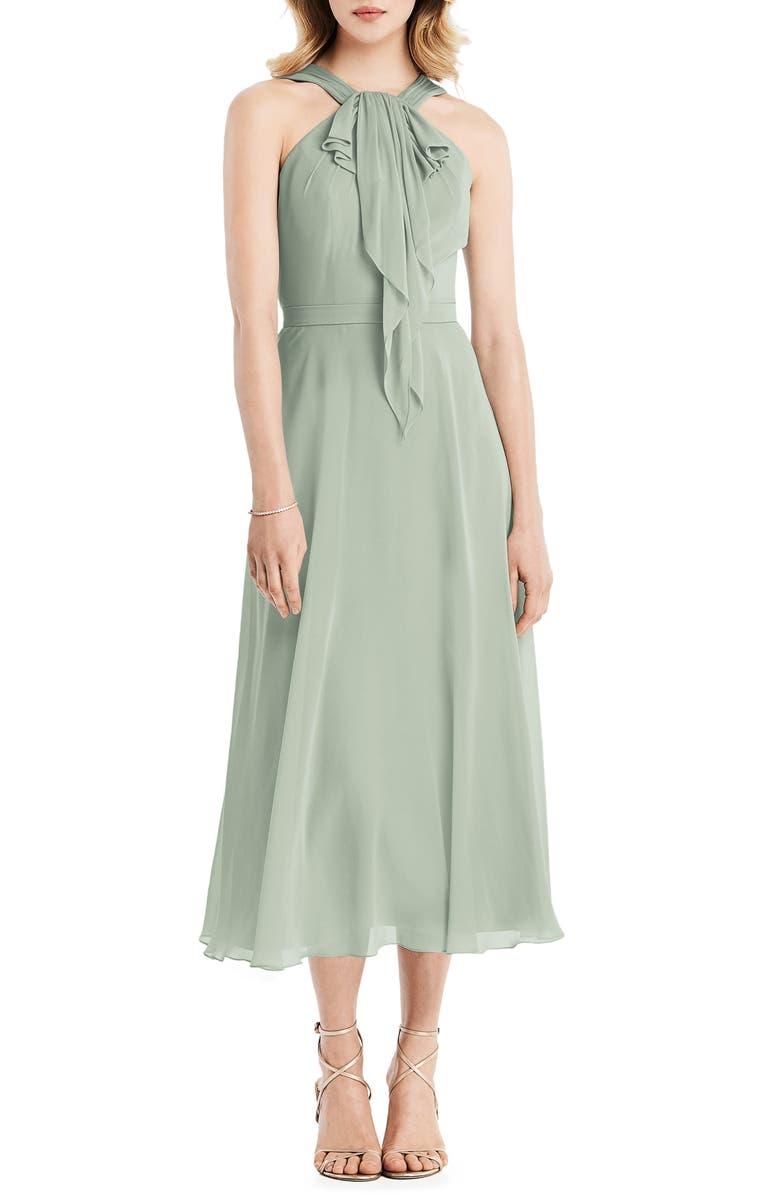 JENNY PACKHAM Halter Neck Chiffon Midi Dress, Main, color, WILLOW