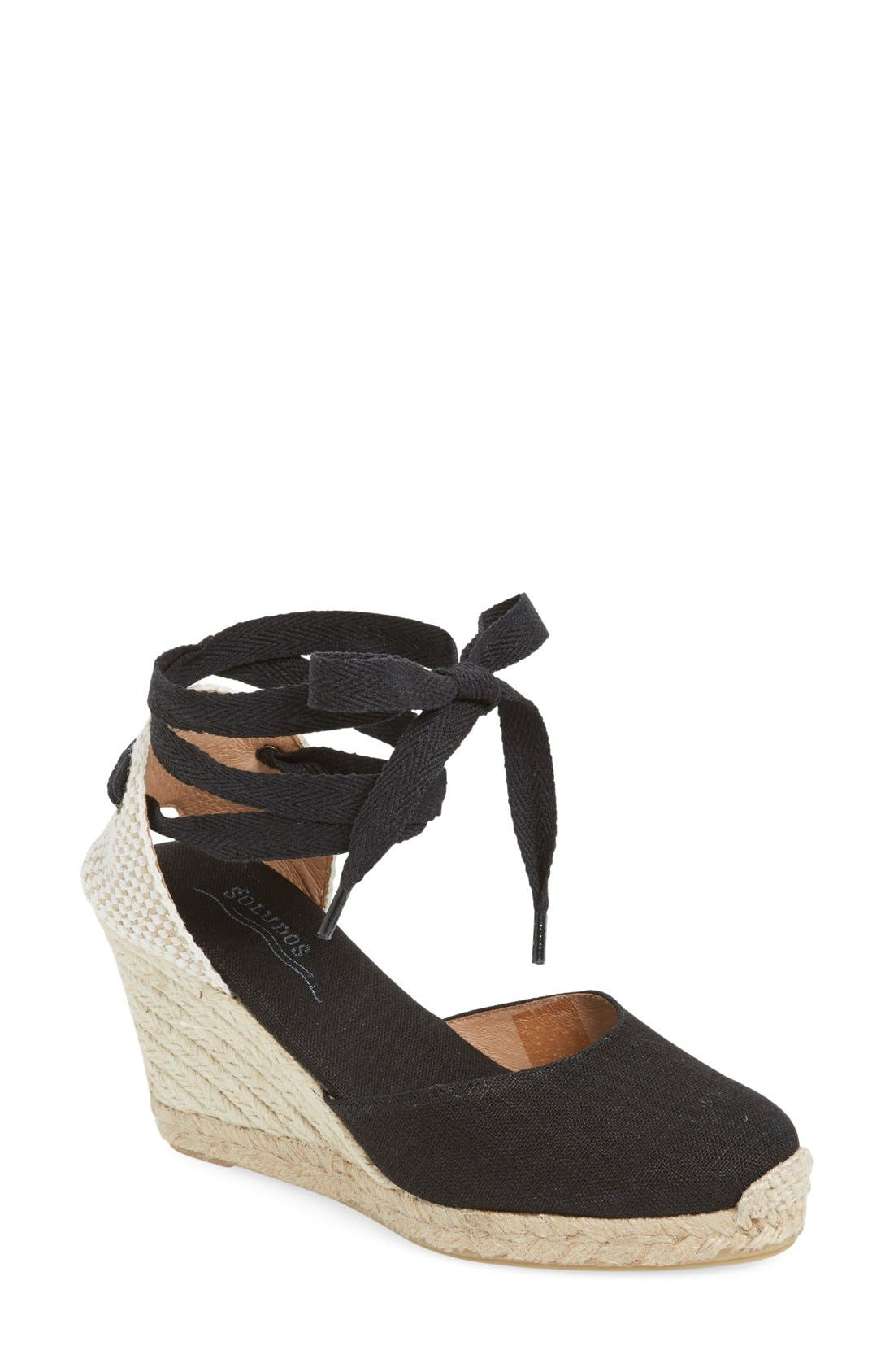 Wedge Lace-Up Espadrille Sandal, Main, color, BLACK