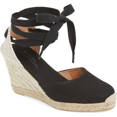 Soludos Wedge Lace-Up Espadrille Sandal- Black
