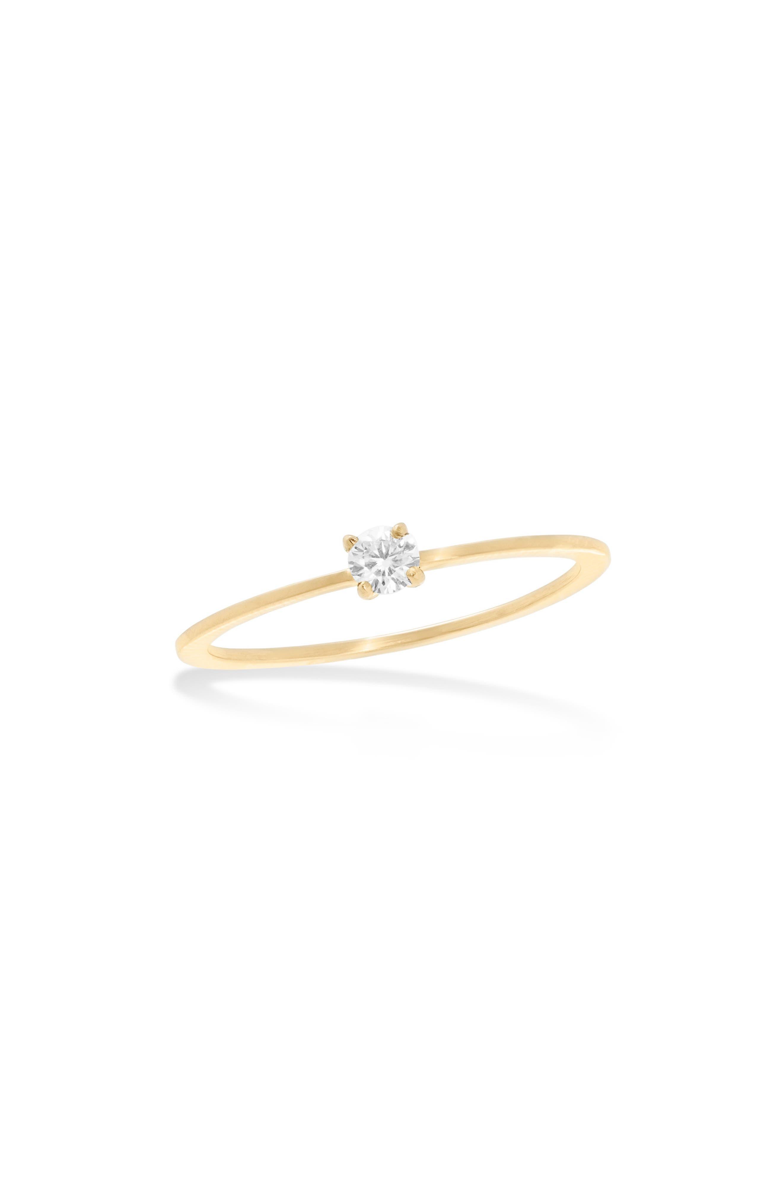 Skinny Flat Solo Diamond Ring