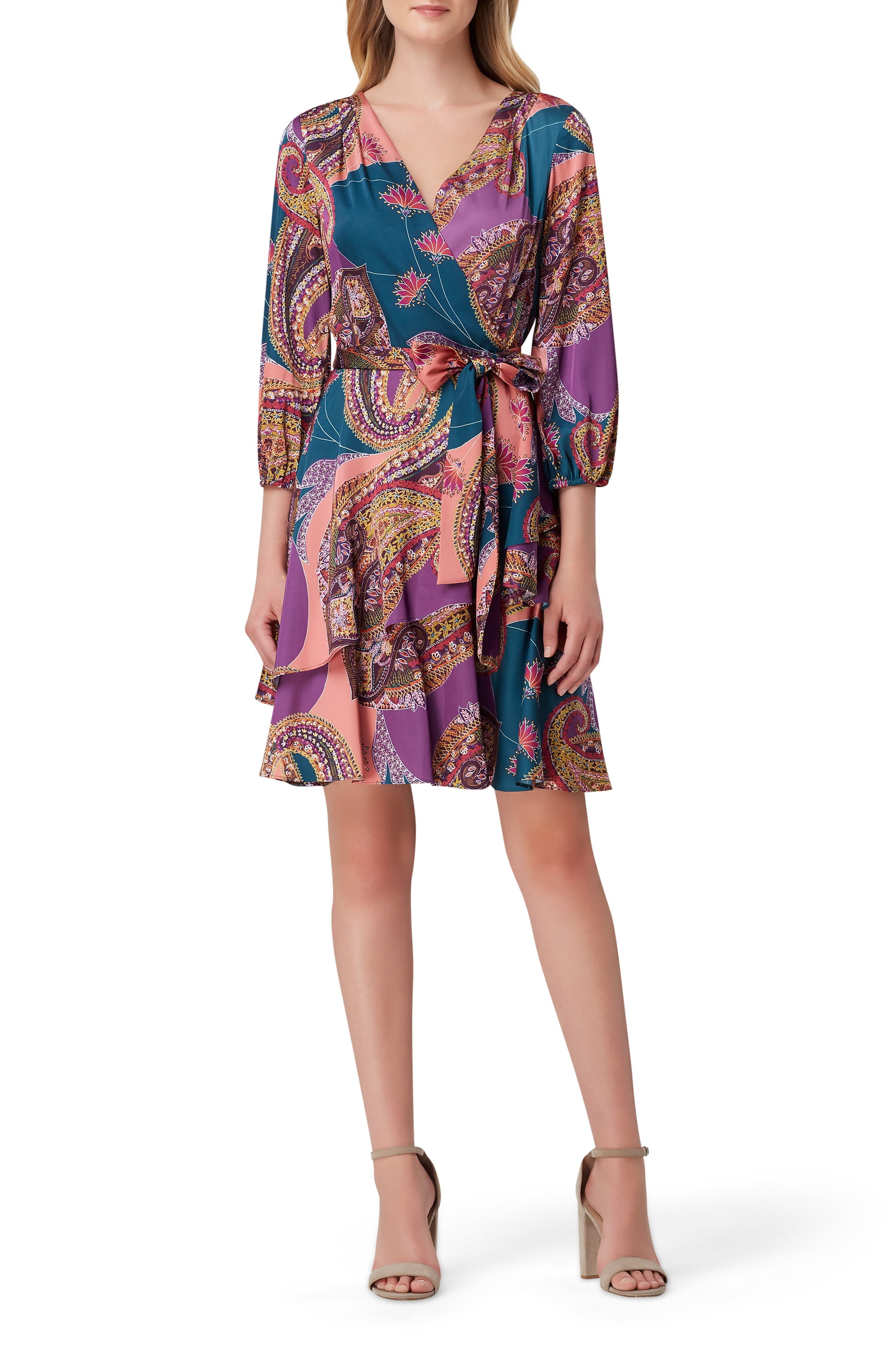 Tahari Dresses Paisley Print Faux Wrap Satin Georgette Dress