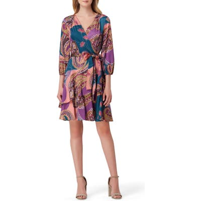 Tahari Paisley Print Faux Wrap Satin Georgette Dress