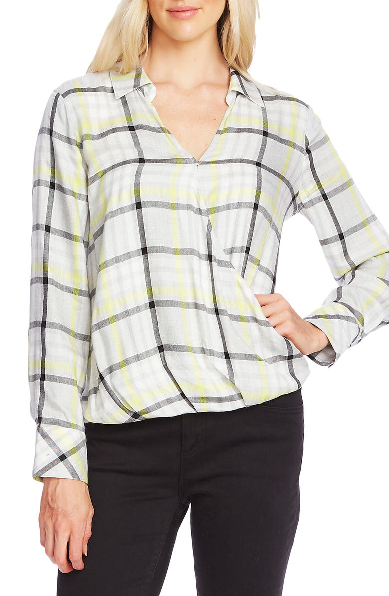 VINCE CAMUTO Plaid Highlight Wrap Front Top, Main, color, LIME CHROME