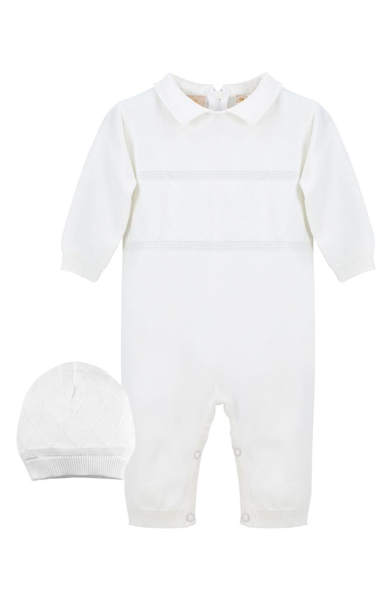 CARRIAGE BOUTIQUE Elegant Christening Romper & Hat Set, Main, color, 100