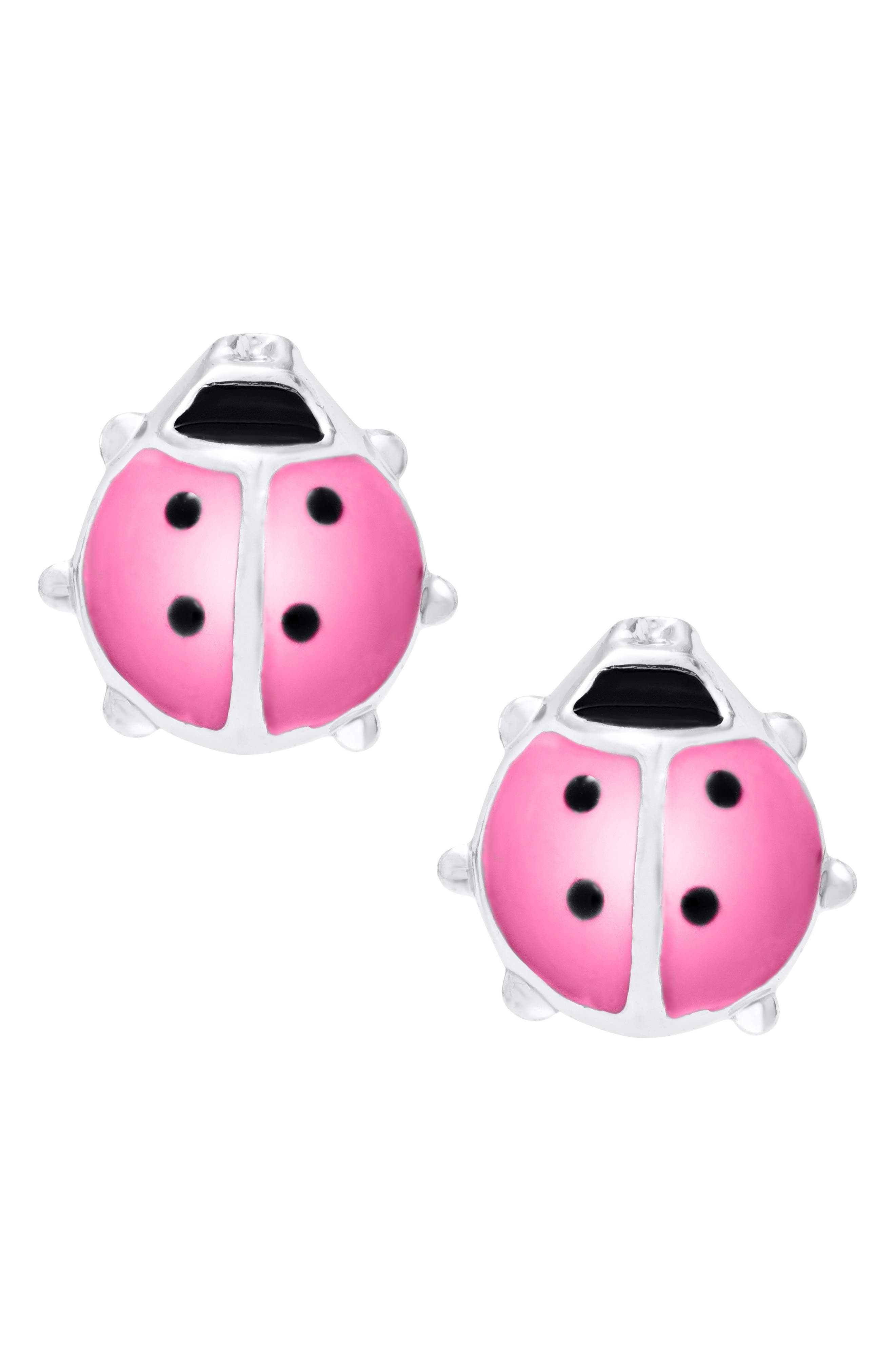 Girls Childrens Kids Sterling Silver Small Ladybird Stud Earrings Gift Boxed
