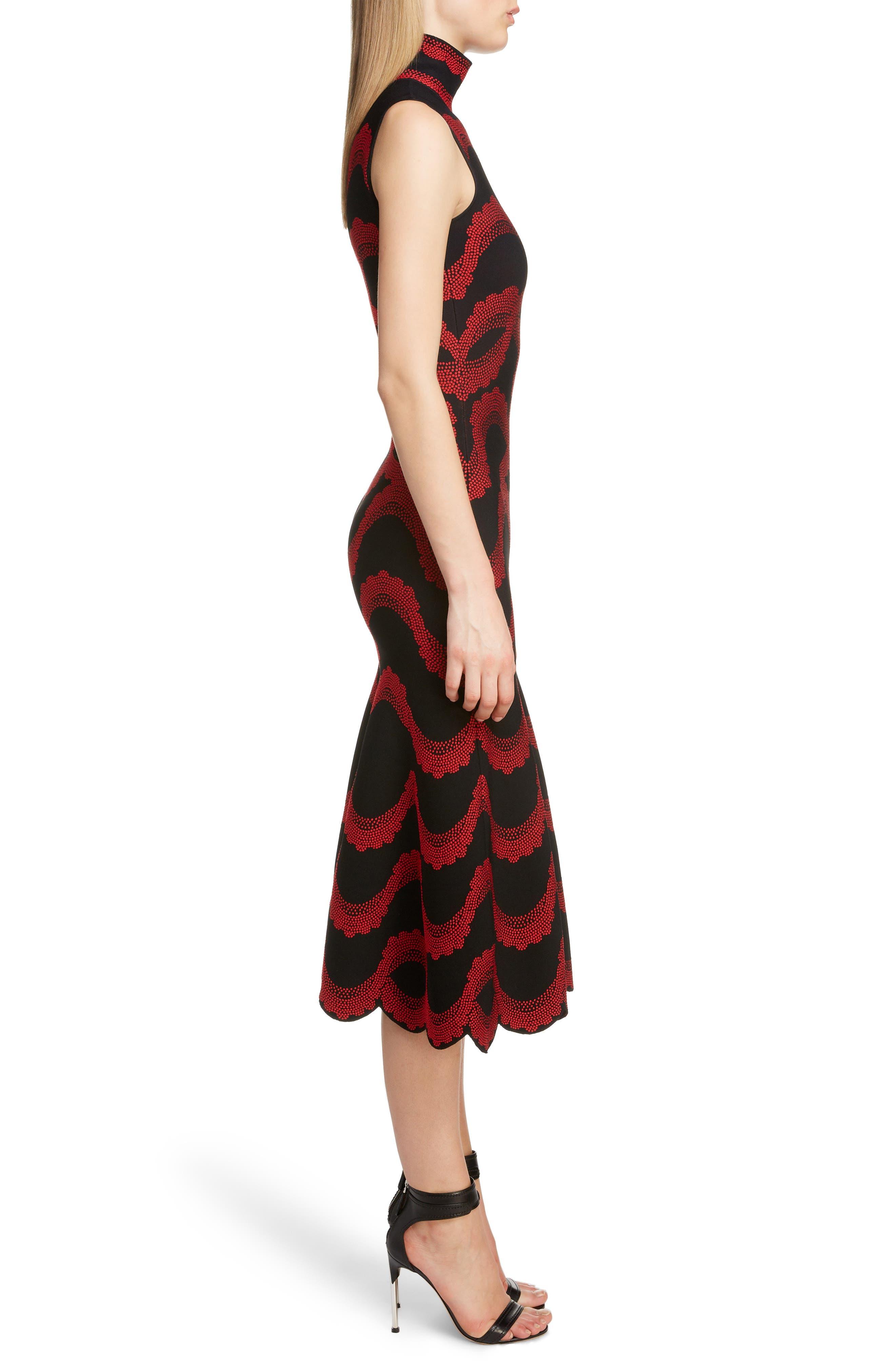 ,                             Wave Jacquard Midi Dress,                             Alternate thumbnail 3, color,                             BLACK/ RED