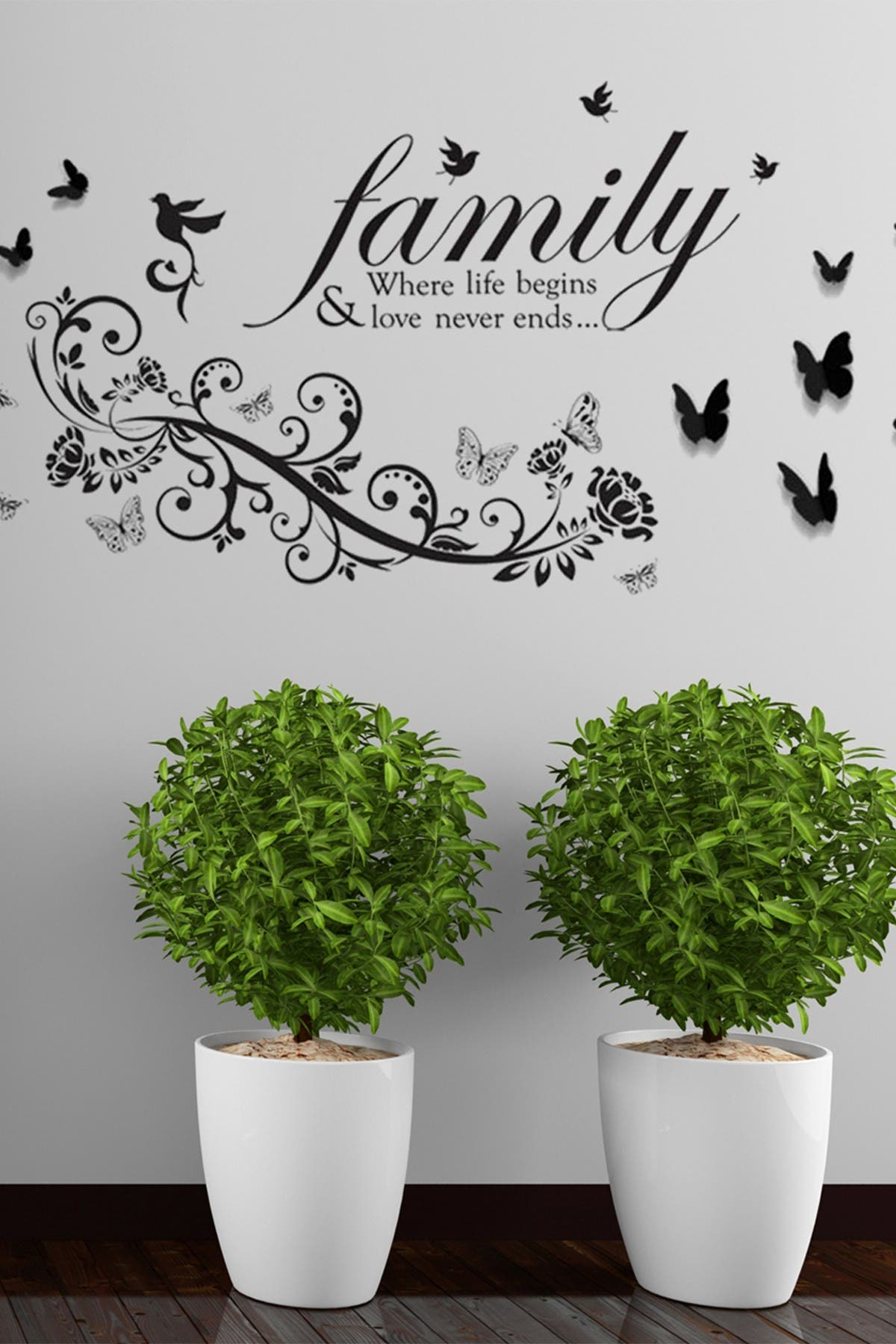 Image of WalPlus Family Quote Birds, Vine & 3D Butterflies Wall Stickers
