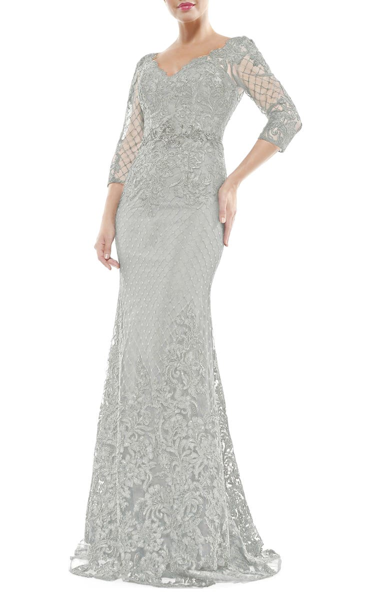 MARSONI V-Neck Lace Overlay Gown, Main, color, SILVER