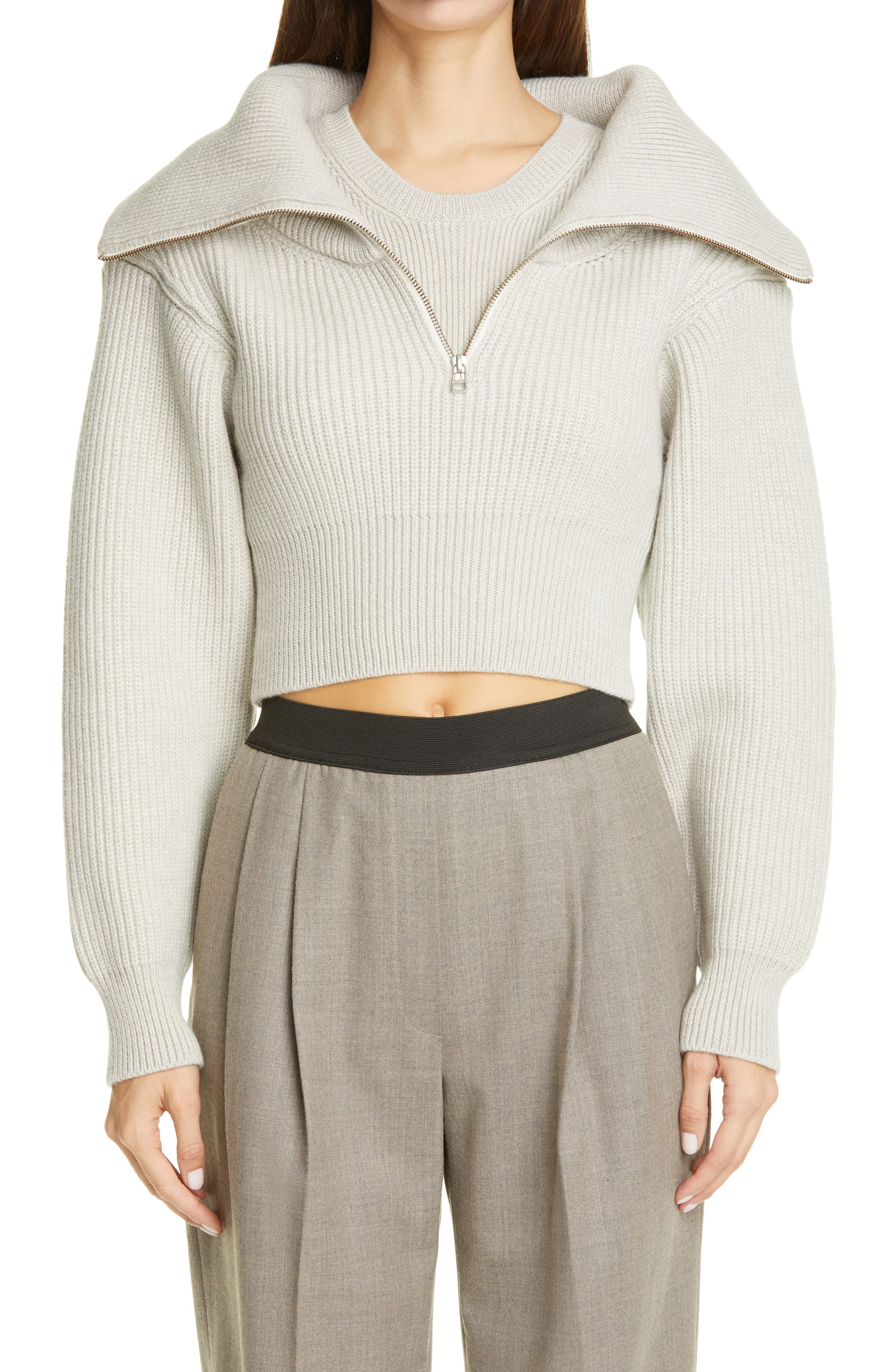 A quarter zip reveals another layer to the cozy shaker-stitch sweater that\\\'s cropped for a a cool, contemporary look. Style Name: Jacquemus Risoul Merino Wool Layered Crop Sweater. Style Number: 6056071. Available in stores.