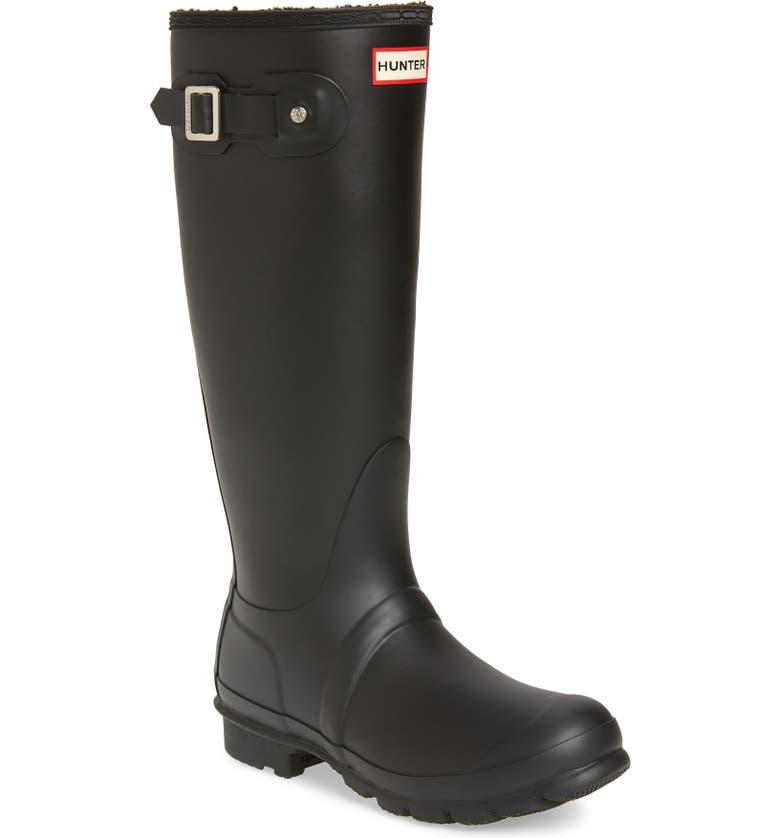 HUNTER Original Insulated Tall Rain Boot, Main, color, BLACK