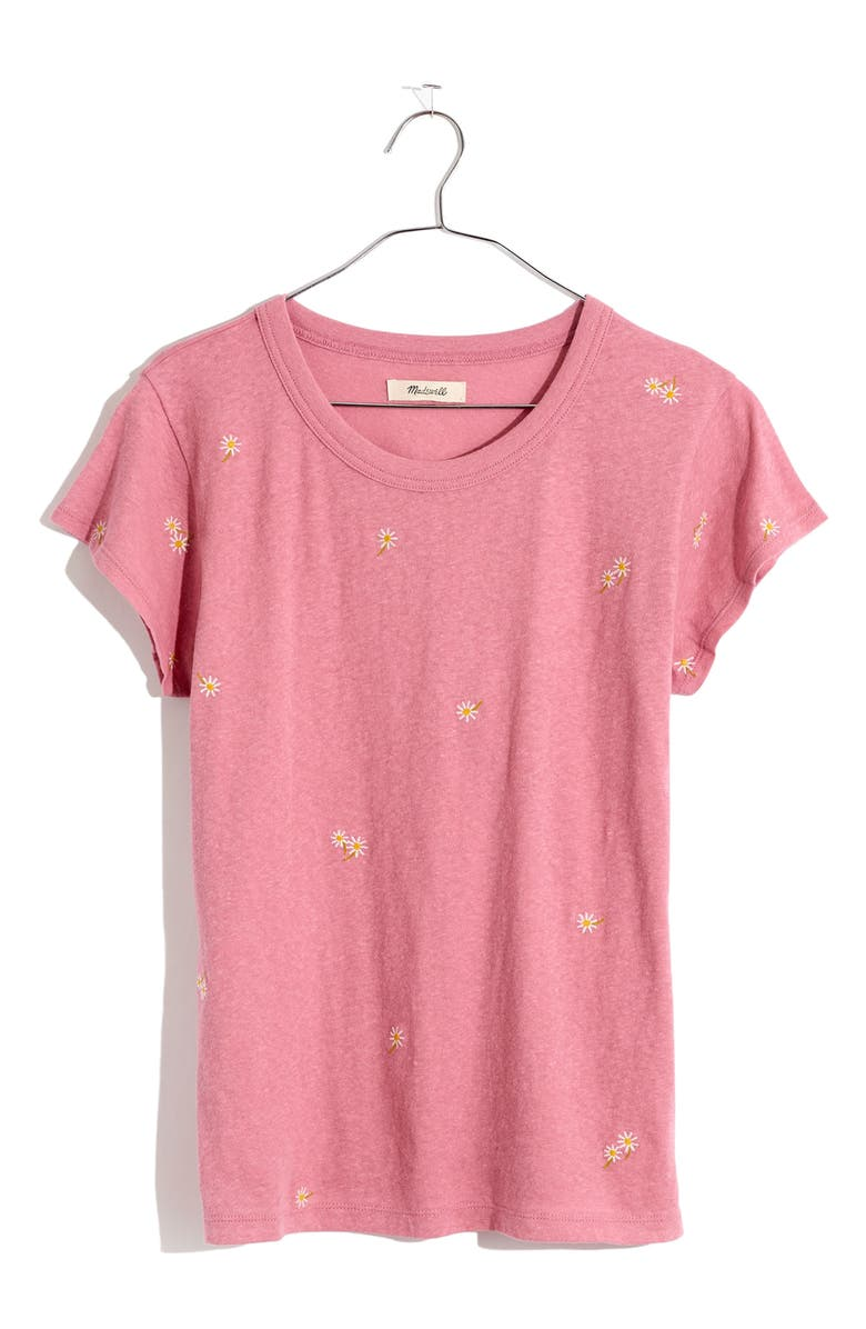 MADEWELL The Daisy Embroidered Perfect T-Shirt, Main, color, DAISY EMB WEATHERED BERRY