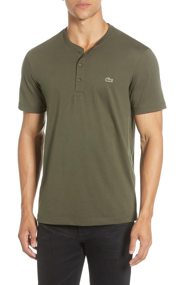 LACOSTE Regular Fit Henley T-Shirt, Main, color, BAOBAB GREEN