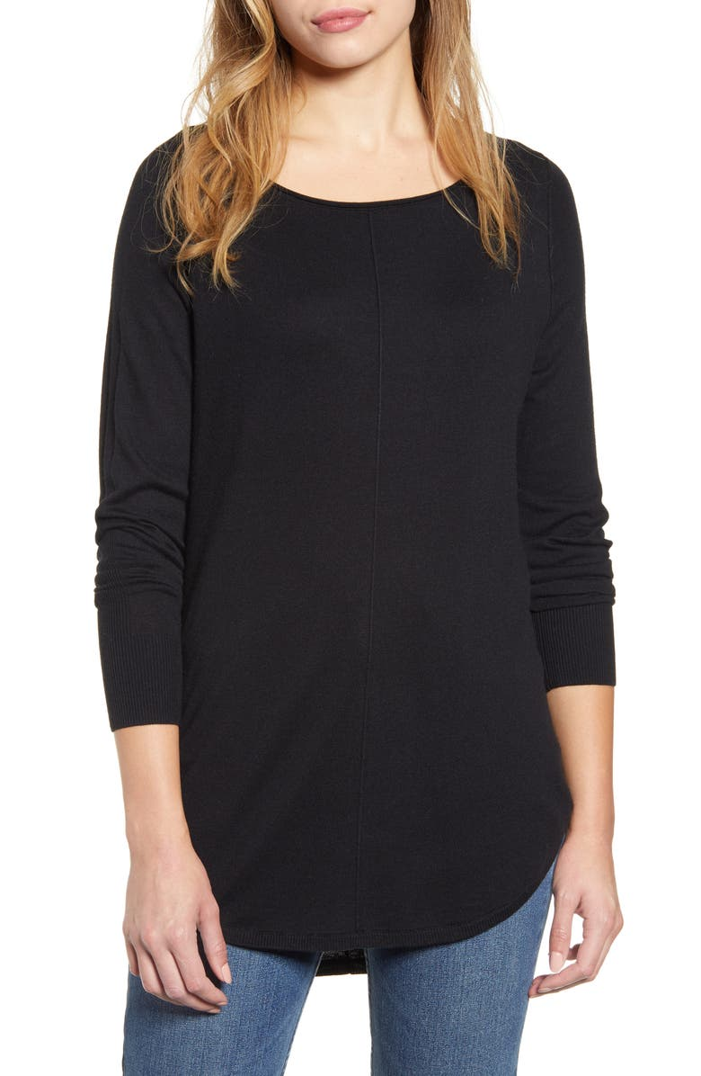 CASLON<SUP>®</SUP> Shirttail Tunic Sweater, Main, color, BLACK