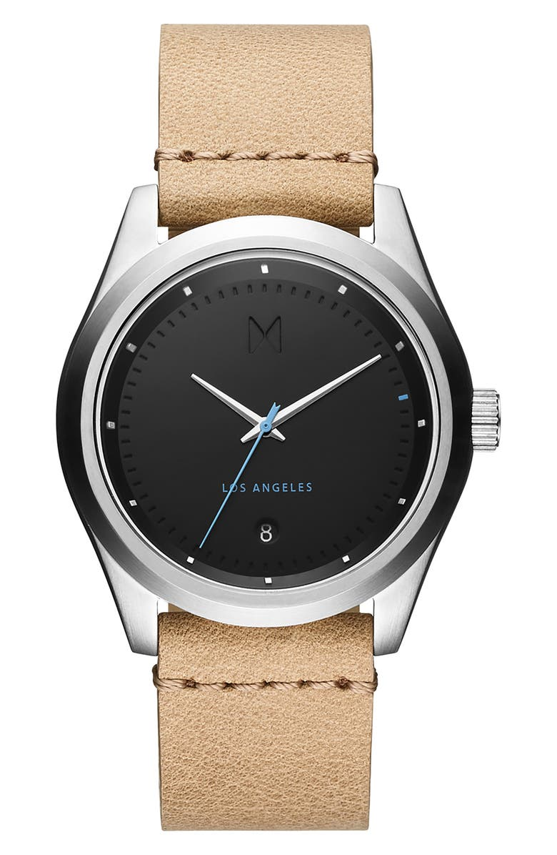 MVMT Time Crusher Leather Strap Watch, 39mm, Main, color, BLACK/ SANDSTONE