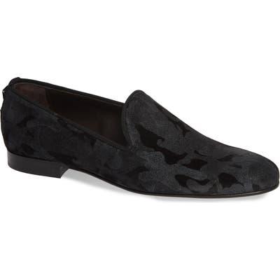 Jared Lang Milan Camo Venetian Loafer, Black