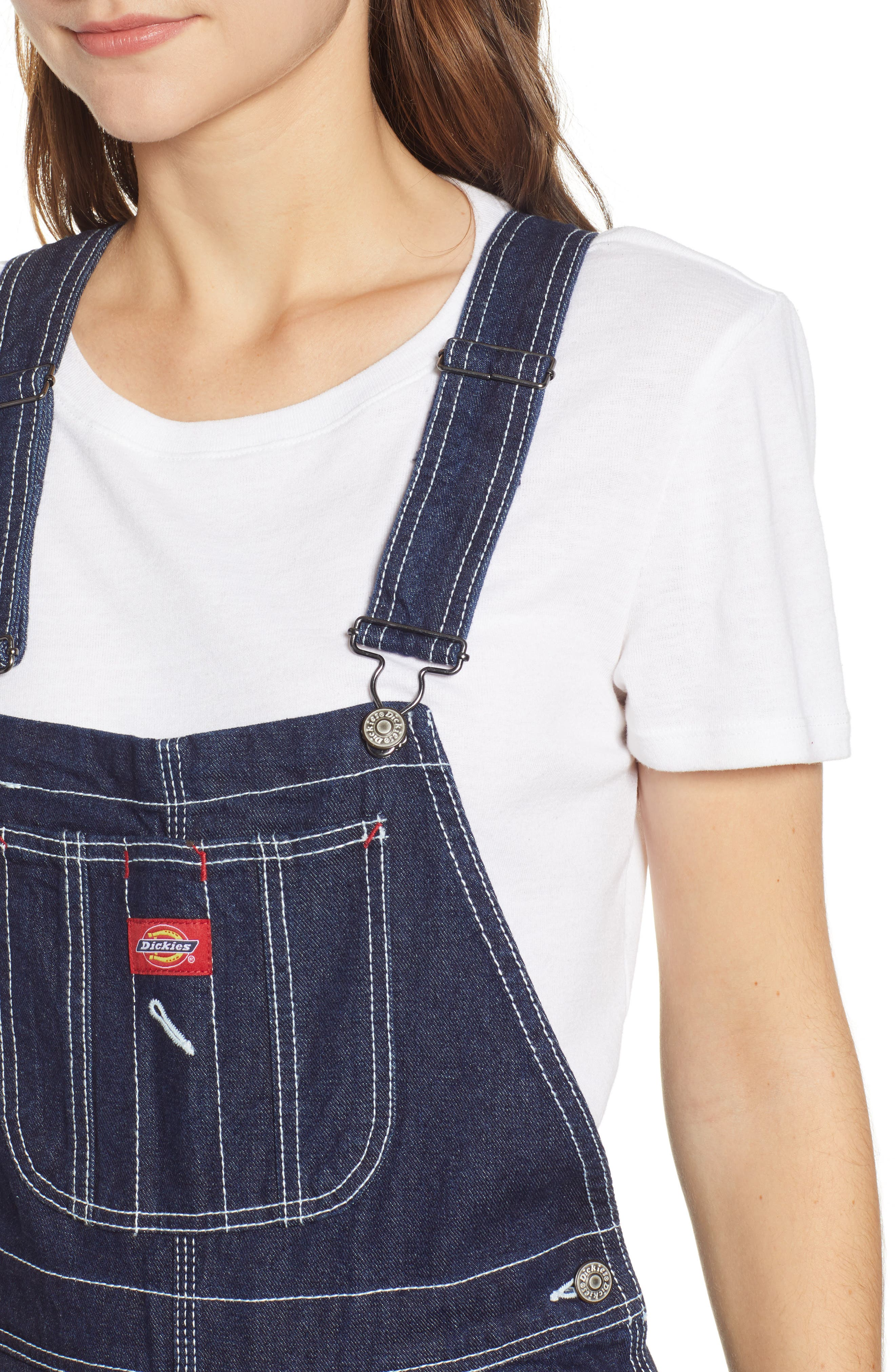 ,                             Relaxed Fit Denim Overalls,                             Alternate thumbnail 5, color,                             DARK RINSE