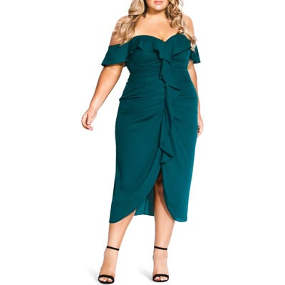 Plus Size City Chic Va Va Voom Ruched Ruffle Dress, Green