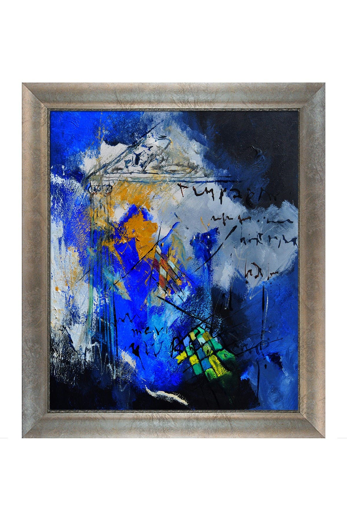 Image of Overstock Art Abstract 6611701 with Silver Scoop with Swirl Lip Frame
