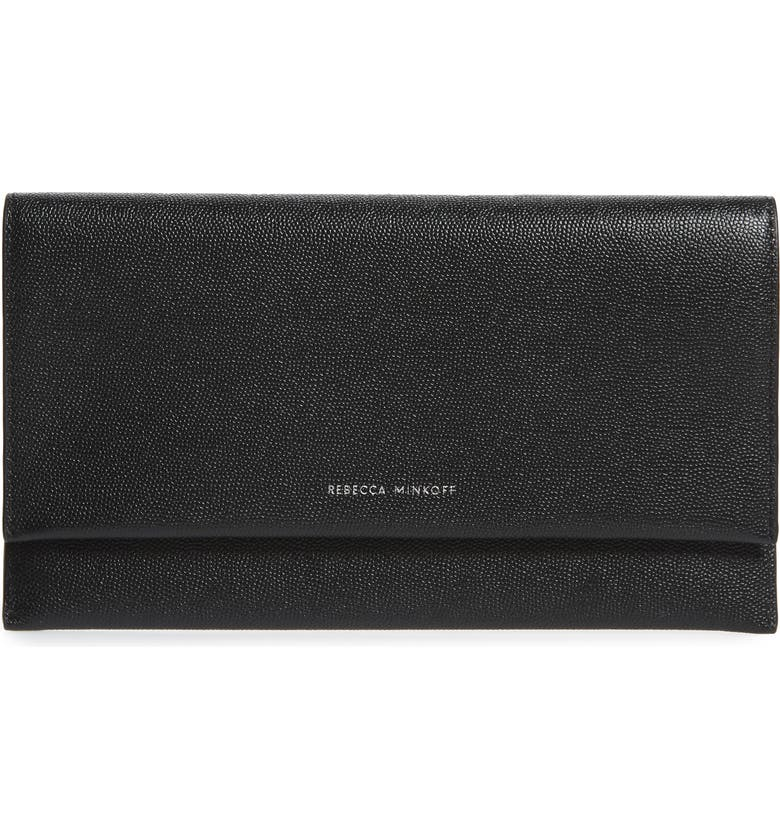 REBECCA MINKOFF Leather Wallet Clutch, Main, color, BLACK