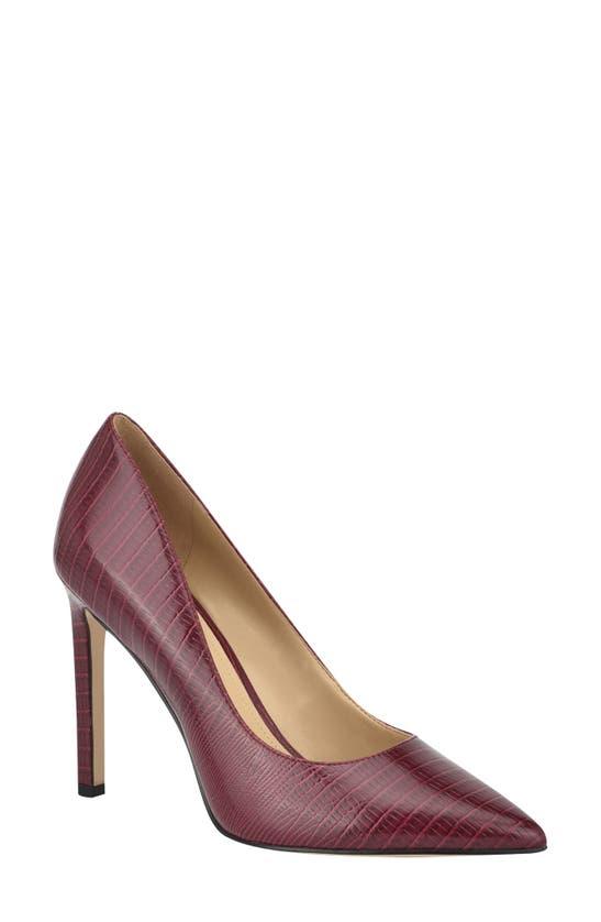 Nine West Women's Tatiana Pointy Toe Pumps Women's Shoes In Wine Lizard