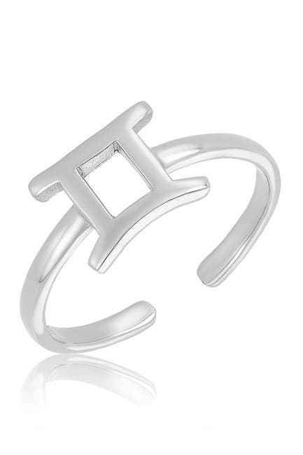 Image of Sterling Forever Sterling Silver Adjustable Zodiac Ring - Gemini