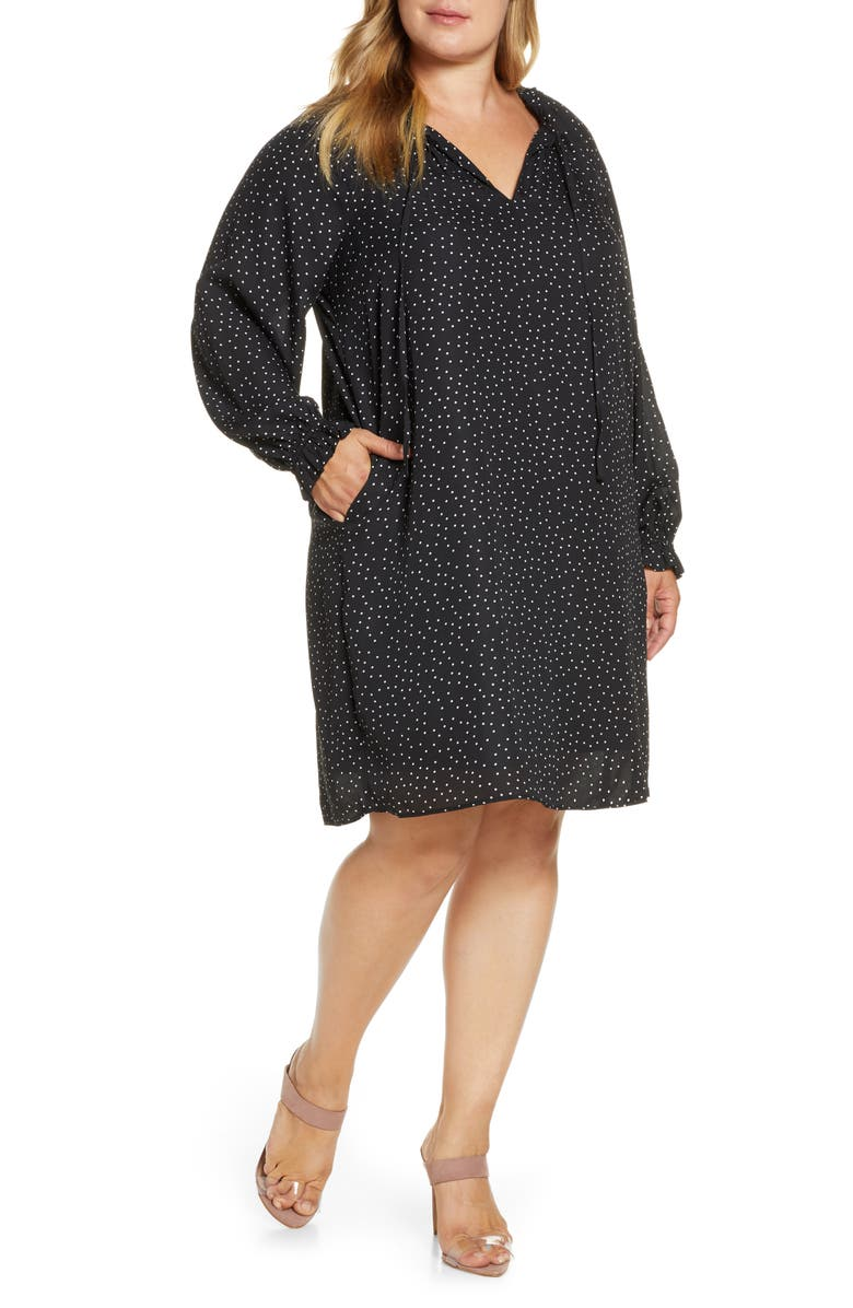 BOBEAU Yvonne Dotted Long Sleeve Shift Dress, Main, color, 001