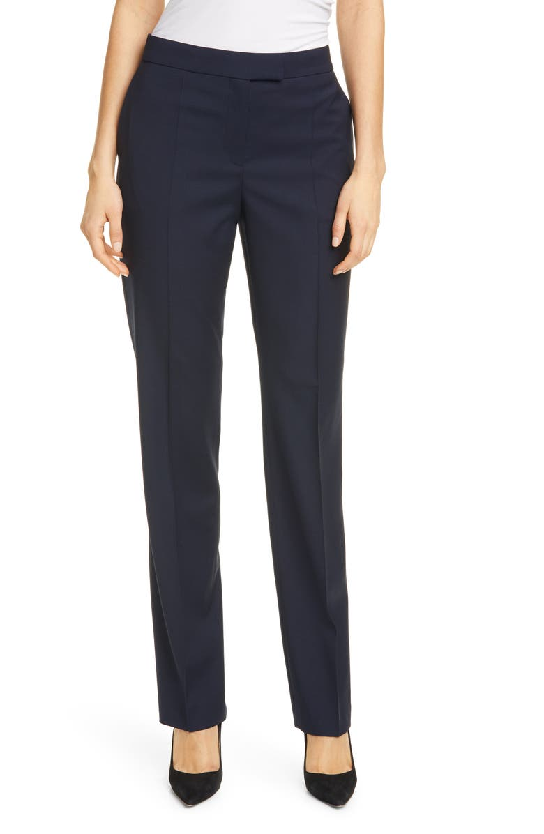BOSS Tewah 1 Straight Leg Stretch Wool Pants, Main, color, 001