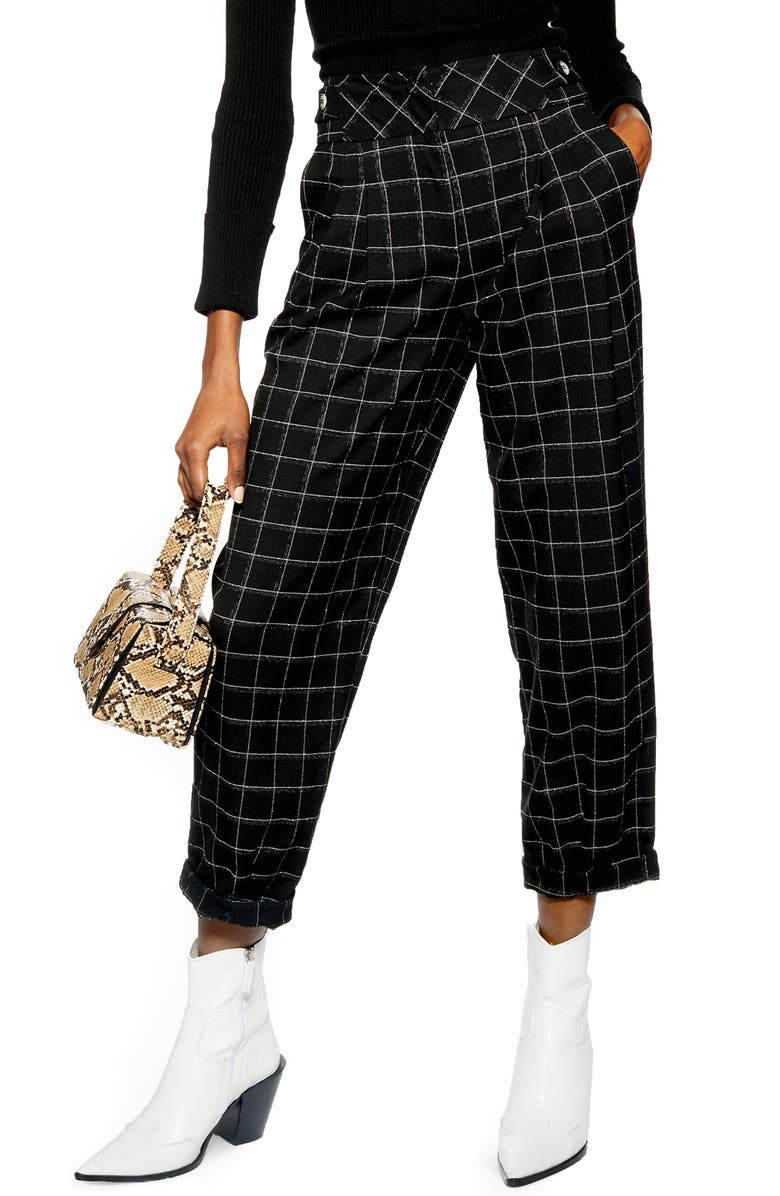 TOPSHOP Windowpane Deep Waistband Cropped Trousers, Main, color, 002