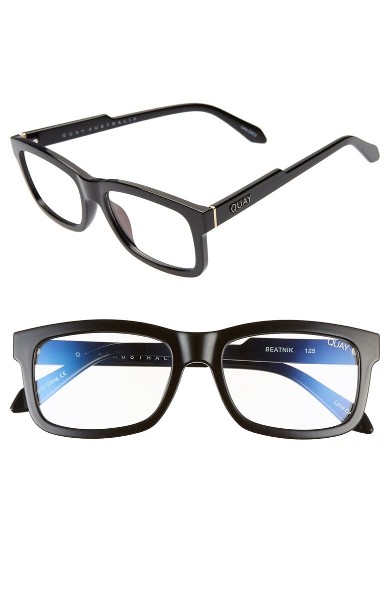 QUAY AUSTRALIA Beatnik 54mm Blue Light Blocking Glasses, Main, color, BLACK/ CLEAR BLUE LIGHT
