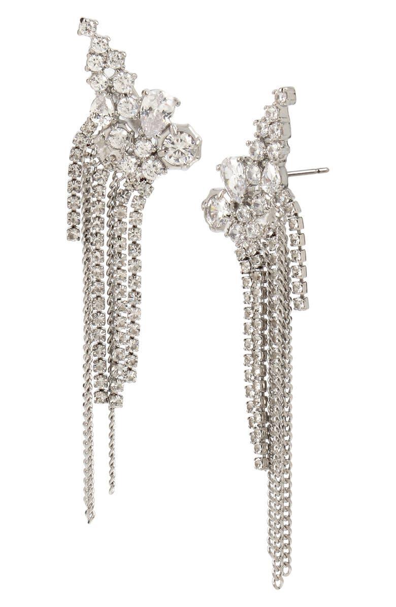 ALLSAINTS Cluster Fringe Earrings, Main, color, CRYSTAL/ RHODIUM
