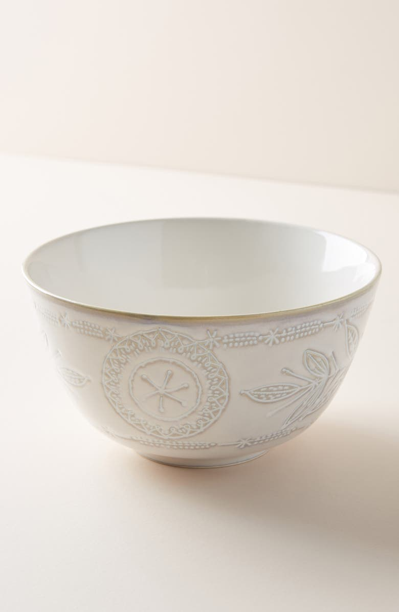 ANTHROPOLOGIE Uret Stoneware Bowl, Main, color, WHITE