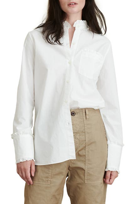 Image of ALEX MILL Ruffle Trim Poplin Shirt