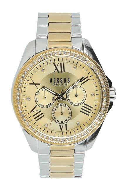 Image of VERSUS Women's Elmont Swarovski Crystal Accent Two-Tone Bracelet Watch, 40mm