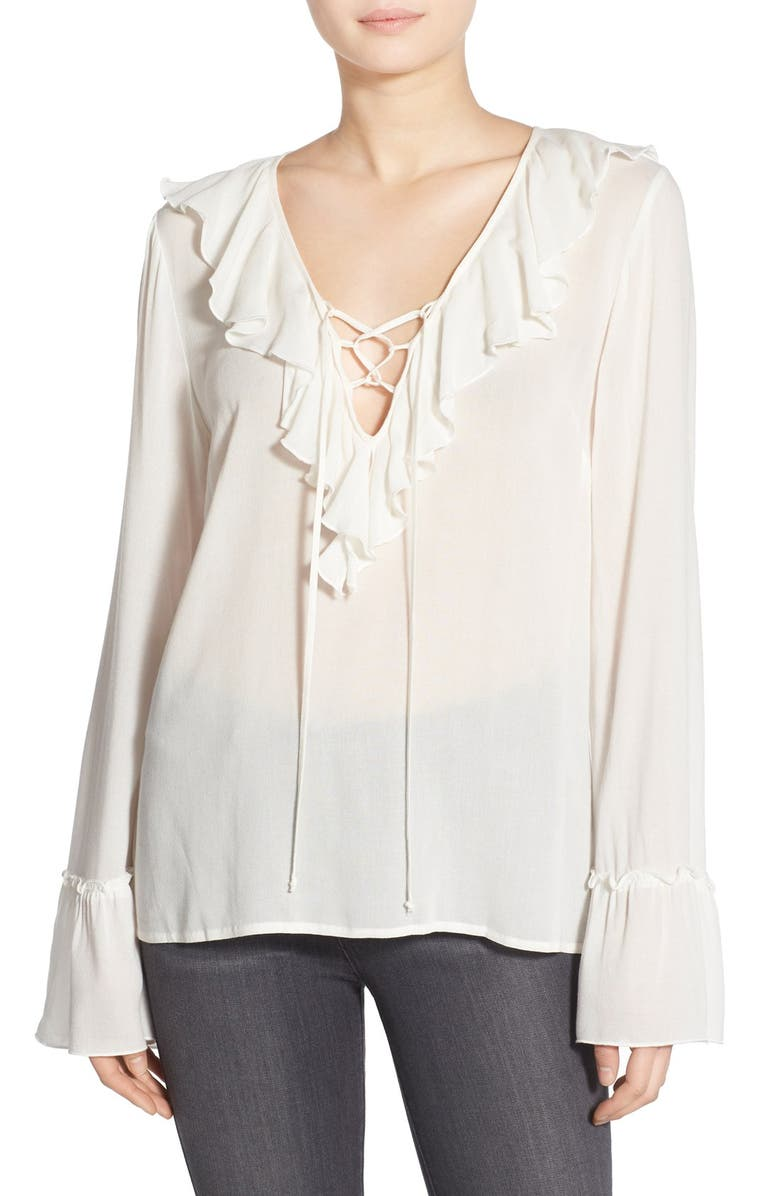 BAND OF GYPSIES Ruffle Front Poet Blouse, Main, color, 901