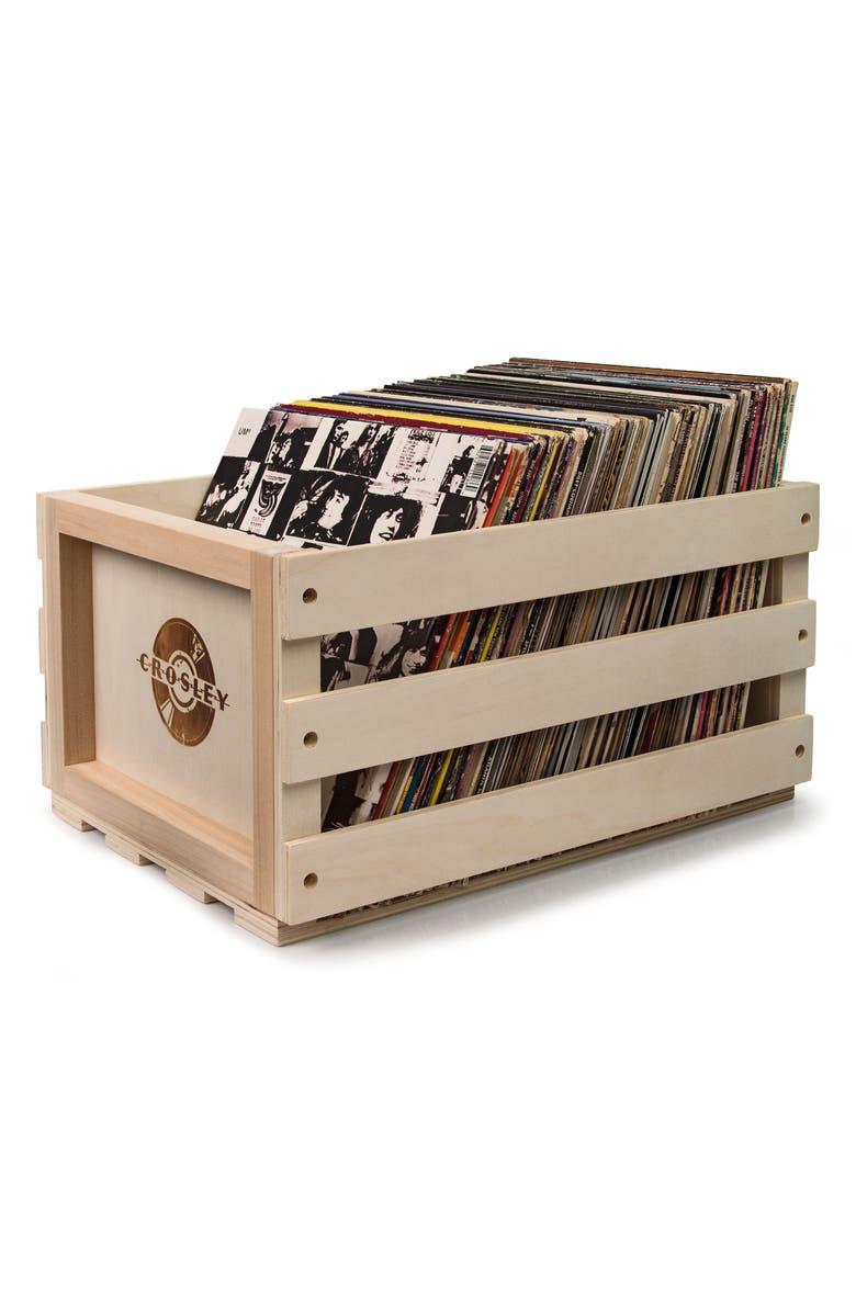CROSLEY RADIO Record Storage Crate, Main, color, NATURAL