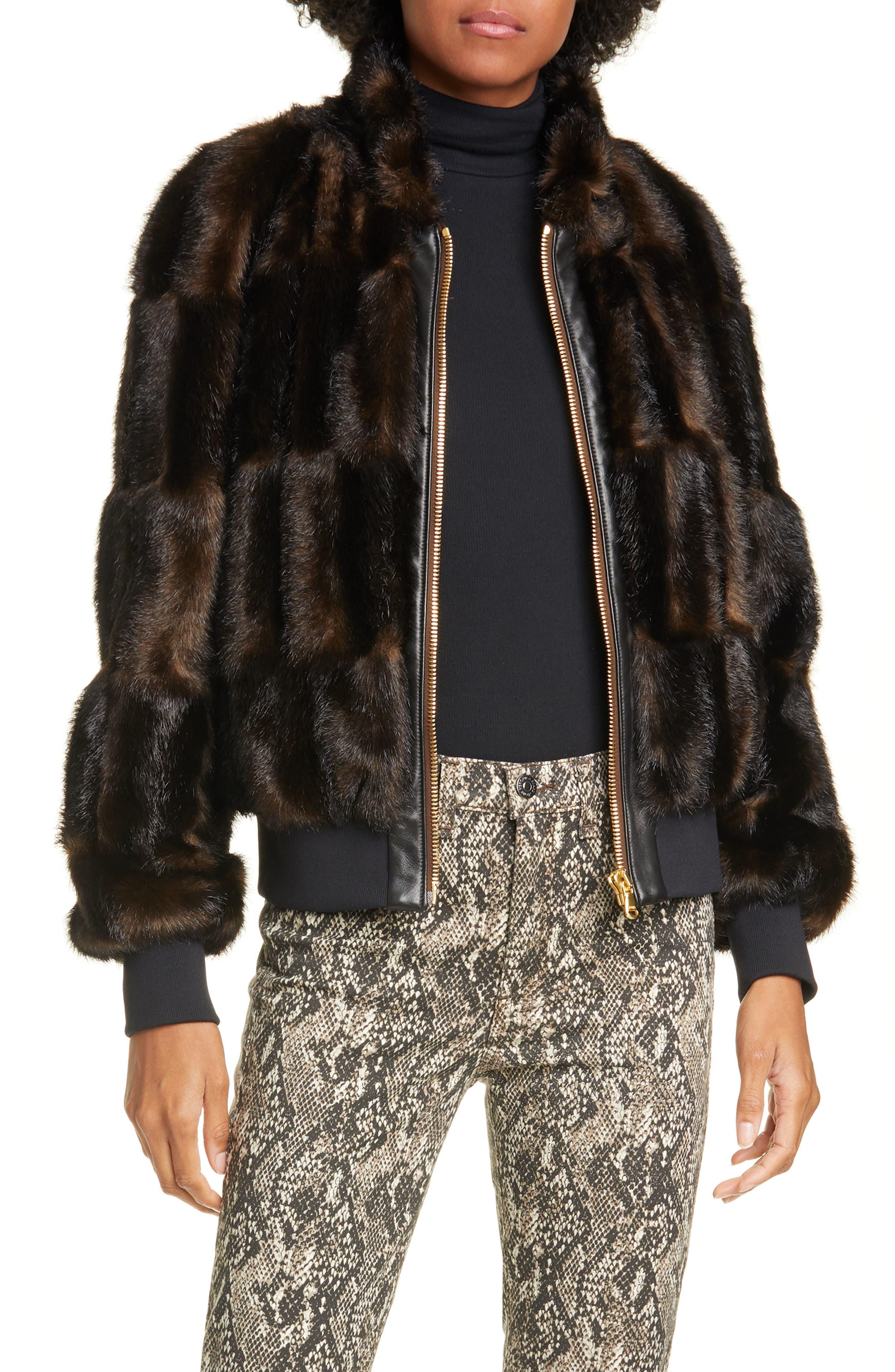 Veronica Beard Furs Bellfire Faux Fur Bomber Jacket