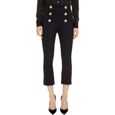 Balmain Button Detail Crop Flare Wool Pants, 46 FR - Blue