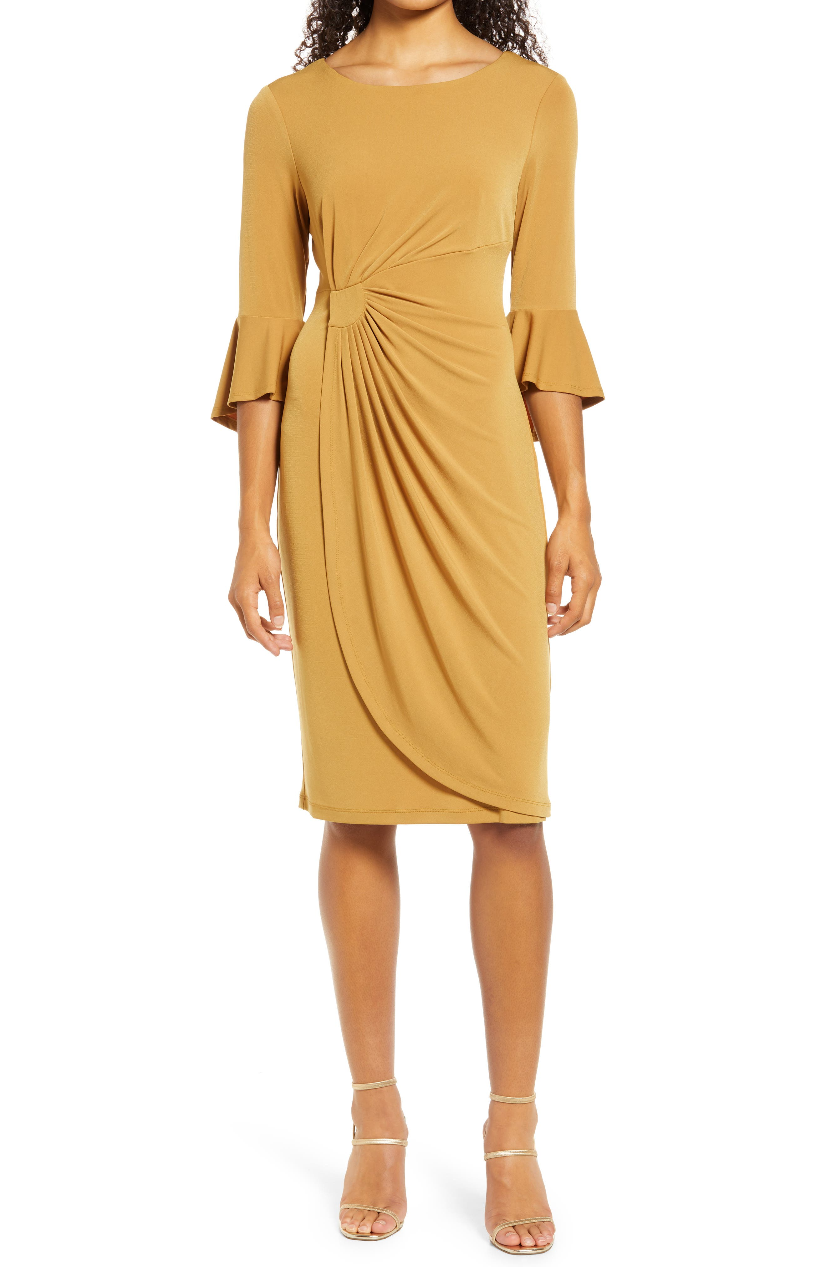 Faux Wrap Bell Sleeve Jersey Cocktail Dress