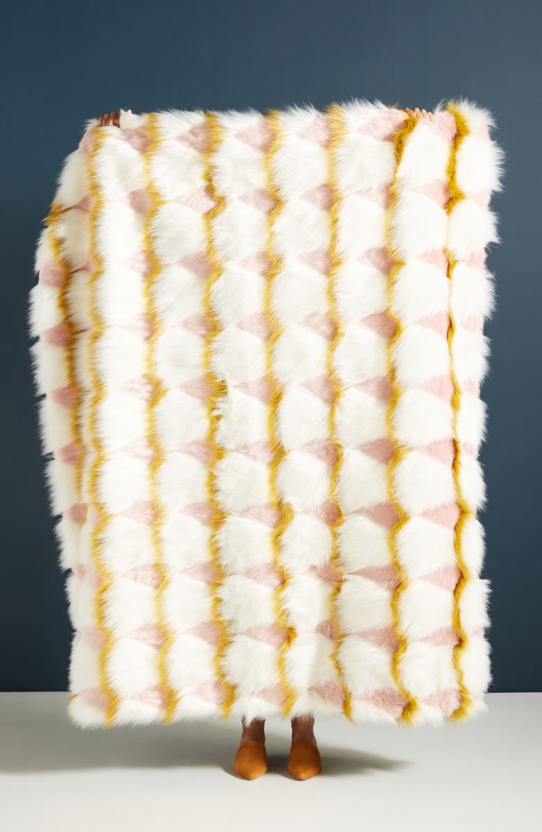 ANTHROPOLOGIE Coren Faux Fur Throw Blanket, Main, color, 100
