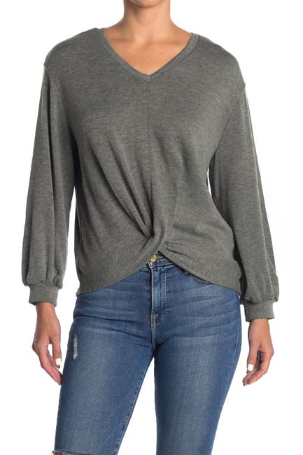 Image of FOR THE REPUBLIC Twist Front V-Neck Sweatshirt