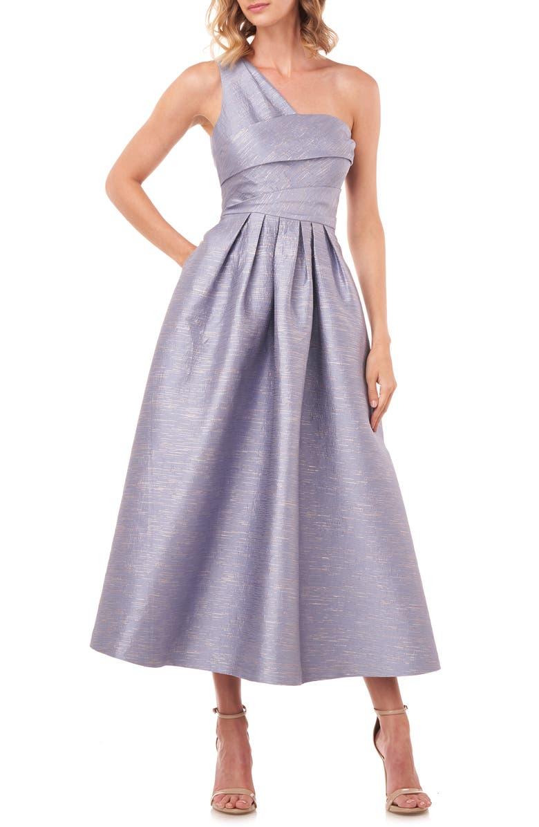 KAY UNGER Victoire Metallic Jacquard One-Shoulder Cocktail Dress, Main, color, SMOKE BLUE
