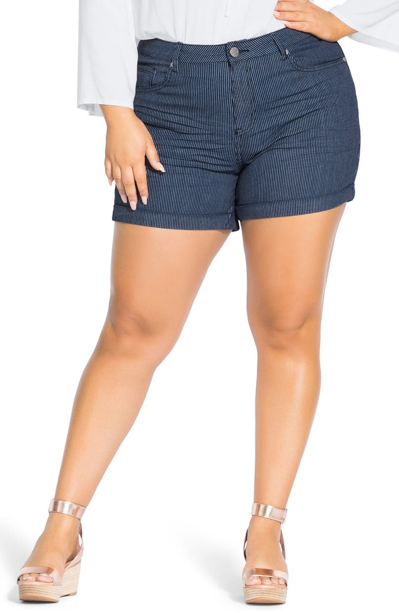 City Chic Stripe Away Cotton Blend Shorts Plus Size