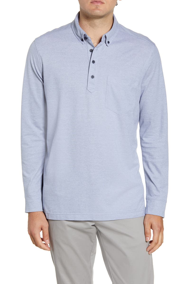 NORDSTROM MEN'S SHOP Regular Fit Long Sleeve Polo, Main, color, BLUE CASHMERE MELANGE