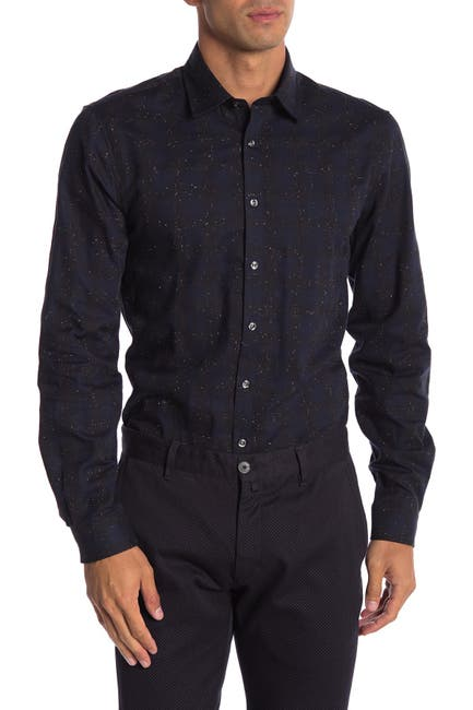 Image of Lindbergh Long Sleeve Checkered Regular Fit Shirt
